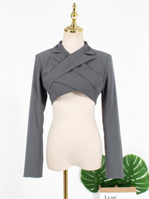 Joy – Red Velvet Grey Cropped Blazer Top (1)