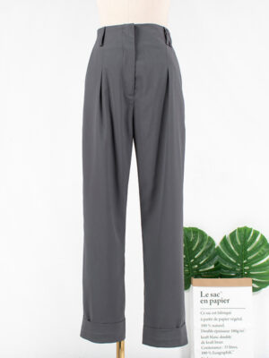 Joy – Red Velvet Grey Pocket Trousers (26)