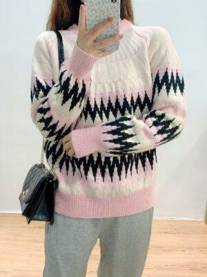 Kai – Pink Zigzag Jacquard Sweater (8)