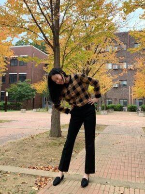Brown Checkered Knit Cardigan | Kang Soo Jin – True Beauty