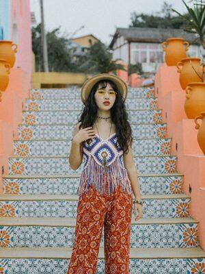 Mina – Blue Crochet Sleeveless Fringe Top (6)