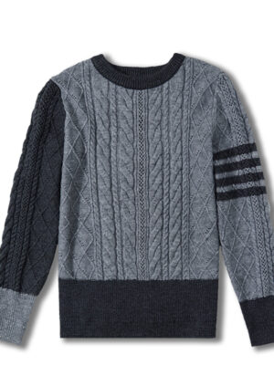 Mina – Grey Bars Sleeve Sweater (3)