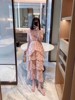 Momo – Floral V-Neck Layered Midi Dress (13)