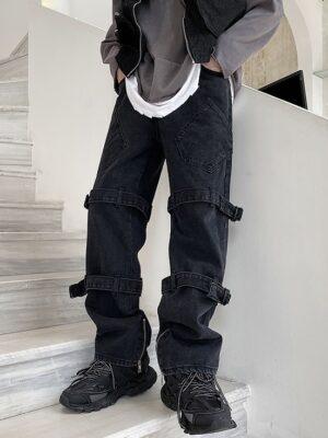 Moonbyul – Mamamoo Black Bondage Strap Jeans (12)