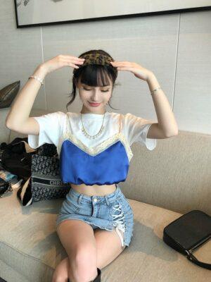 Sana – T-Shirt With Blue Satin Sling Top (7)