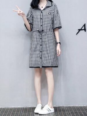 Seulgi – Checkered Collared Shirt Dress (1)