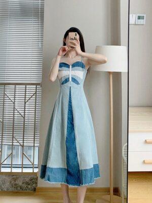 Solar – Sweetheart Neckline Denim Dress (2)