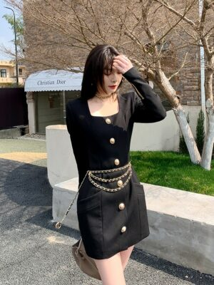 Yeri – Black Square Neck Long Sleeve Dress With Gold Buttons (3)