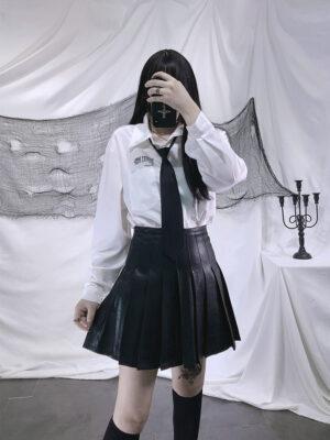 Black Leather Pleated Mini Skirt Minnie – (G)I-DLE 4