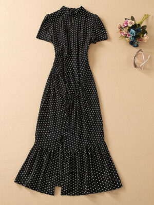 Black Polka Dot Midi Dress Rose – BlackPink 3