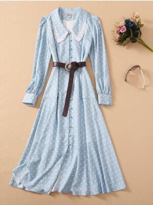 Blue Doll Collar Polka Dot Dress Mina – Twice 1