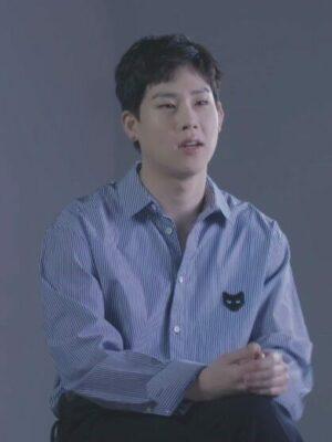 Blue and White Bengal Stripe Shirt | Jooheon – MONSTA X