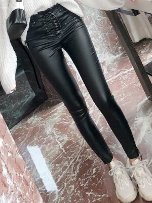 Chaeyoung – Twice Black Lace-Up Leather Pants (13)
