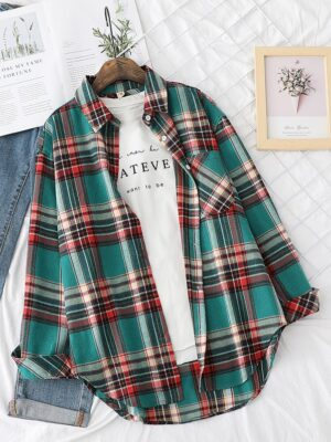 Hoshi – Seventeen Long Sleeve Brushed Plaid Shirt (5)