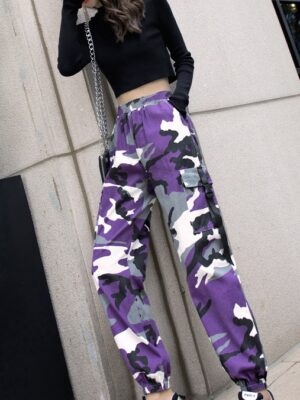 Hyuna – Lilac Camouflage Cargo Pants (26)