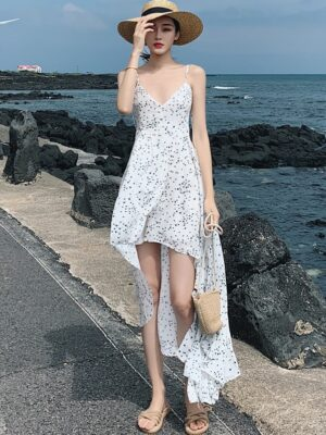 Jihyo – Twice Open-Back White Floral Dress (6)