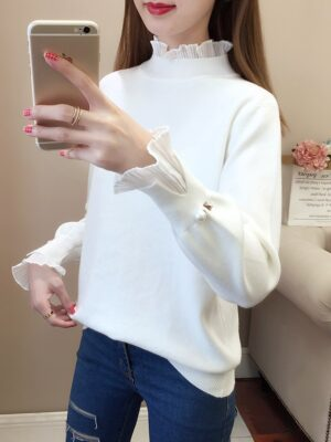 Jimin – BTS White Frilled Mockneck Sweater (11)