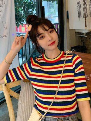 Joy – Red Velvet Rainbow Stripe Patterned T-Shirt (10)