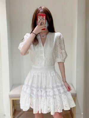 Joy – Red Velvet White Puff Sleeve Lace Dress (8)