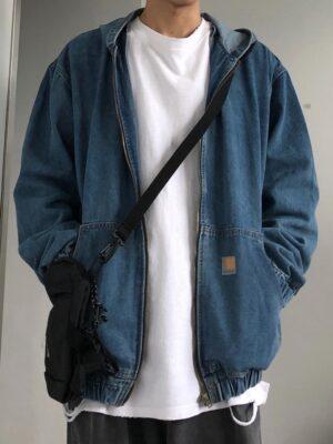 Jungkook – BTS Blue Denim Hooded Jacket (8)