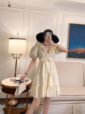 Off White Puff Sleeve Ruffle Dress Yuqi – (G)I-DLE 4