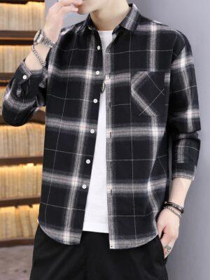 Pocket Shirt IU Black Plaid Collared (6)