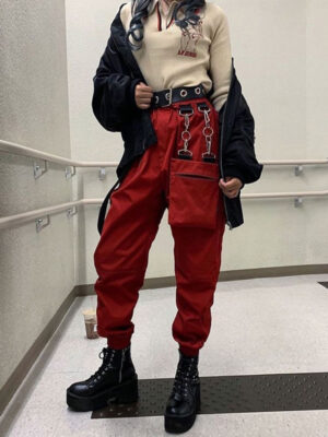 Red Chain Jogger Pants Moonbyul – Mamamoo 3