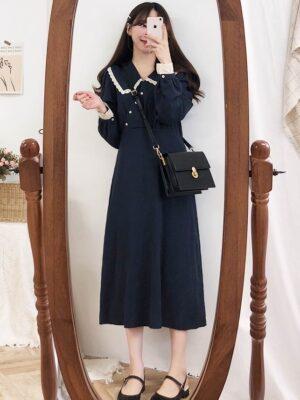 Seulgi – Red Velvet Doll Collar Navy Blue Dress (17)