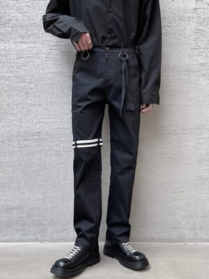Taehyung – BTS Black Pants With Knee Strap (10)