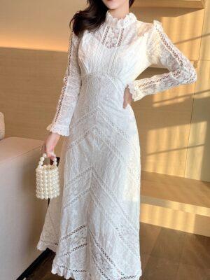Wendy – Red Velvet Elegant White Lace Dress (12)