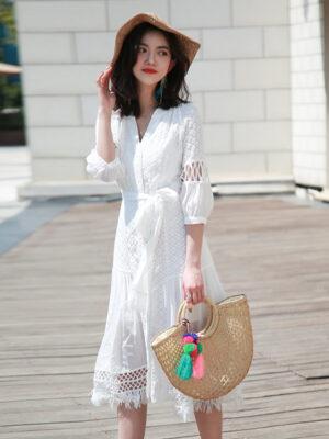 White Bohemian Summer Dress Jeongyeon – Twice 3