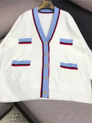White Contrast Striped Loose Cardigan Yuri – Girls Generation 3