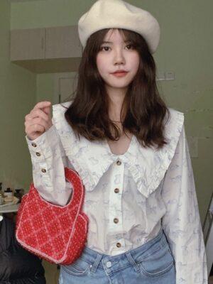 White Doll Collar Blouse With Kitten Print Taeyeon – Girls Generation 5