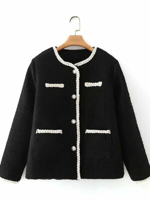 Yeri – Red Velvet Black Tweed Jacket With Pockets (26)