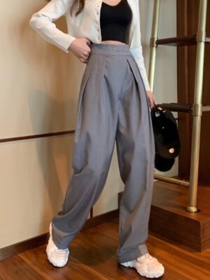 Yuna – ITZY Grey Drape Mopping Pants (13)