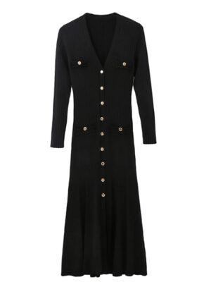 Black Long Sleeves Maxi Dress Yeri – Red Velvet 4