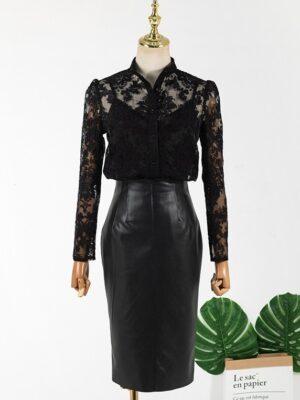 Cheon Seo Jin – Penthouse Black High-Waist Leather Skirt (7)