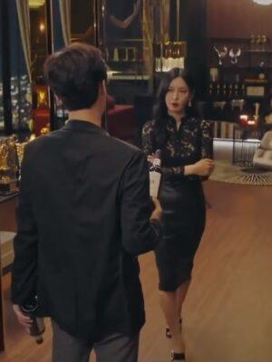 Black High-Waist Leather Skirt   Cheon Seo Jin – Penthouse