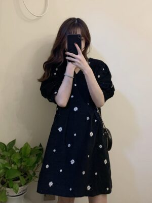 Ha Eun Byul – Penthouse Floral Embroidered Black Mini Dress (18)