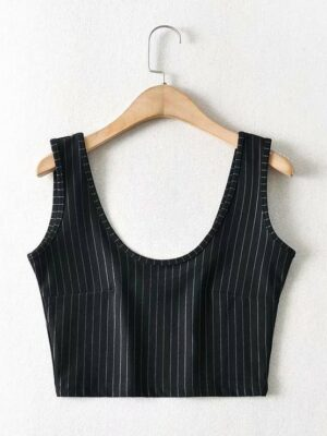 Jennie – BlackPink Stripe Pattern Sleeveless Sport Top (4)