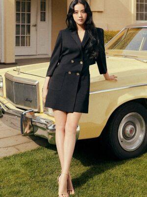 Black Cut-Out Back Suit Dress   Jisoo – BlackPink