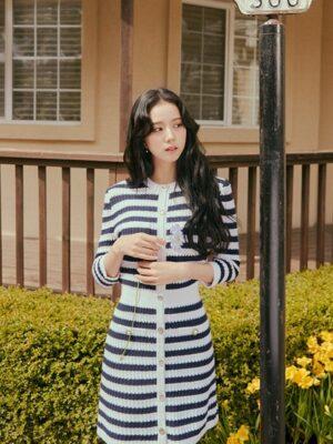 Stripe Knitted Dress   Jisoo – BlackPink
