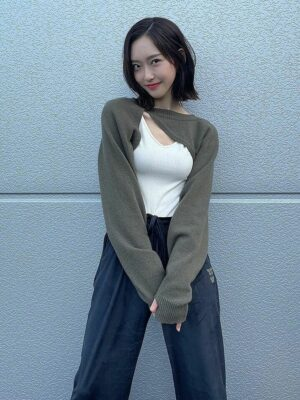 Olive Green Cut-Out Sweater And White Top Set   Joo Seok Kyung – Penthouse
