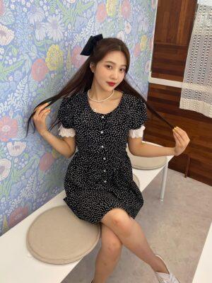 Black Polka Dot Mini Dress | Joy – Red Velvet