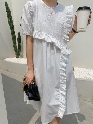 Joy – Red Velvet White Bubble Sleeve Ruffled Dress (10)