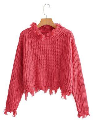 Mina – Twice Pink Raw Edge Knitted Sweater (13)
