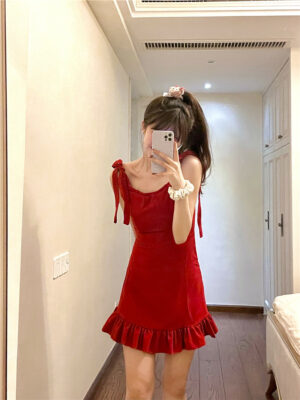 Red Ribbon Ruffle Mini Dress Tiffany – Girls Generation 5