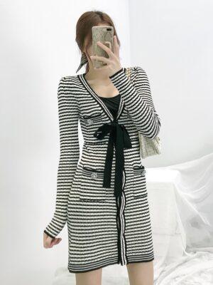 Rose – BlackPink Black And White Knitted Stripe Dress (18)