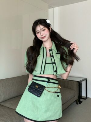Rose – BlackPink Green A-Line Mini Skirt (4)