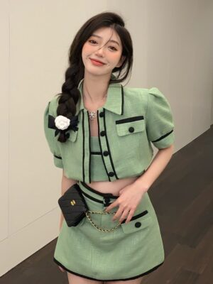 Rose – BlackPink Green Puff Sleeve Short Jacket (6)